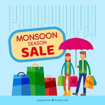 Monsoon season sale background with shopping bags