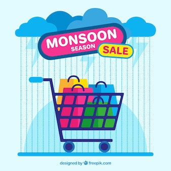 Monsoon season sale background with shopping cart