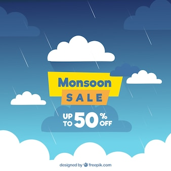 Monsoon season sale background with sky full of clouds