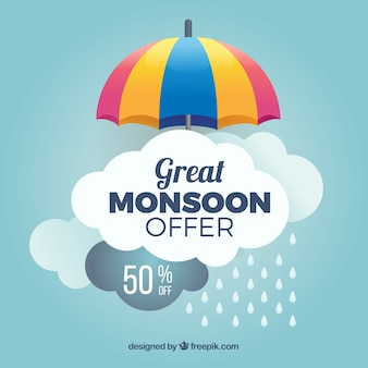 Monsoon season sale background with umbrella and clouds
