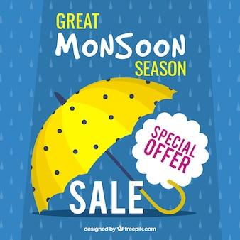 Фон для продажи сезона муссонов с зонтиком