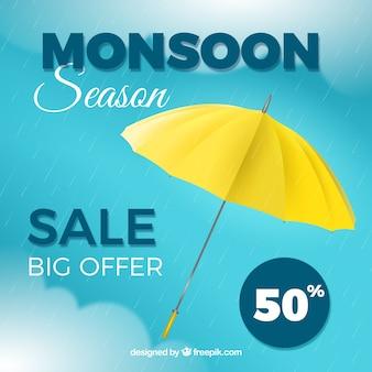 Monsoon season sale background with umbrella