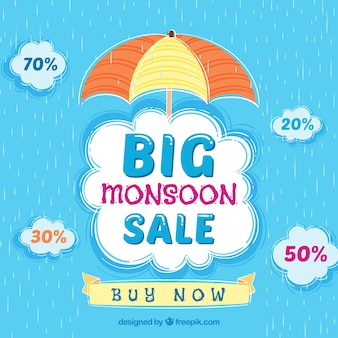 Monsoon season sale background with umbrella