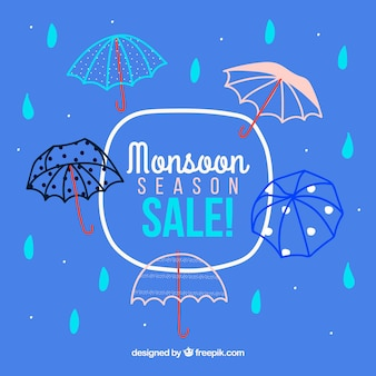 Monsoon season sale background with umbrellas
