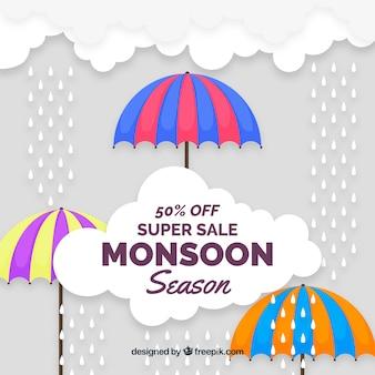 Monsoon season sale background with umbrellas