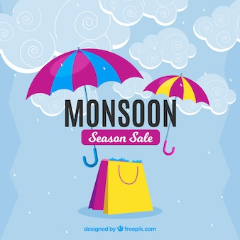 Сезон сезонной продажи муссона с зонтиками