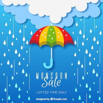 Monsoon season sale composition with flat design