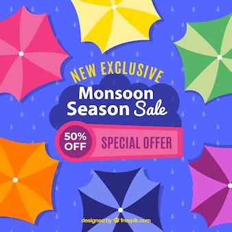 Monsoon season sale composition with flat design