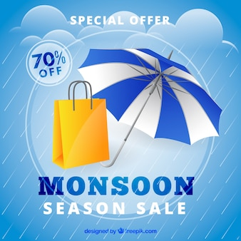 Monsoon season sale composition with realistic design