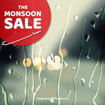 Monsoon season sale with blurred background