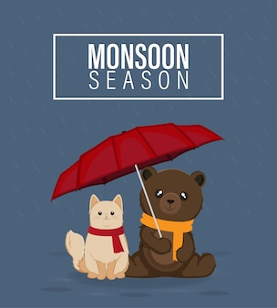 Monsoon season vector illustration, cat and bear holding red umbrella
