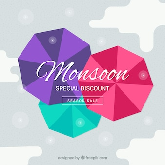 Композиция для продажи сезона monsoon с плоским дизайном