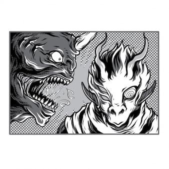Monster academy black and white illustration