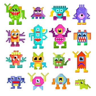 Monster alien vector cartoon pixel monstrous character of monstrosity and alienation illustration monstrously set of cute alienated pixy creature on halloween for kids isolated.