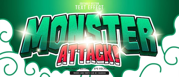Monster attack, premium vector editable modern 3d green red glowing cartoon style text effect, perfect for food and beverage products or game titles.