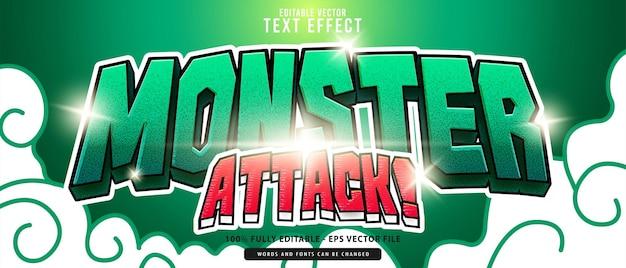 Monster attack, 고급 벡터 편집 가능한 현대적인 3d 녹색 빨간색 빛나는 만화 스타일 텍스트 효과, 음식 및 음료 제품 또는 게임 제목에 적합합니다.