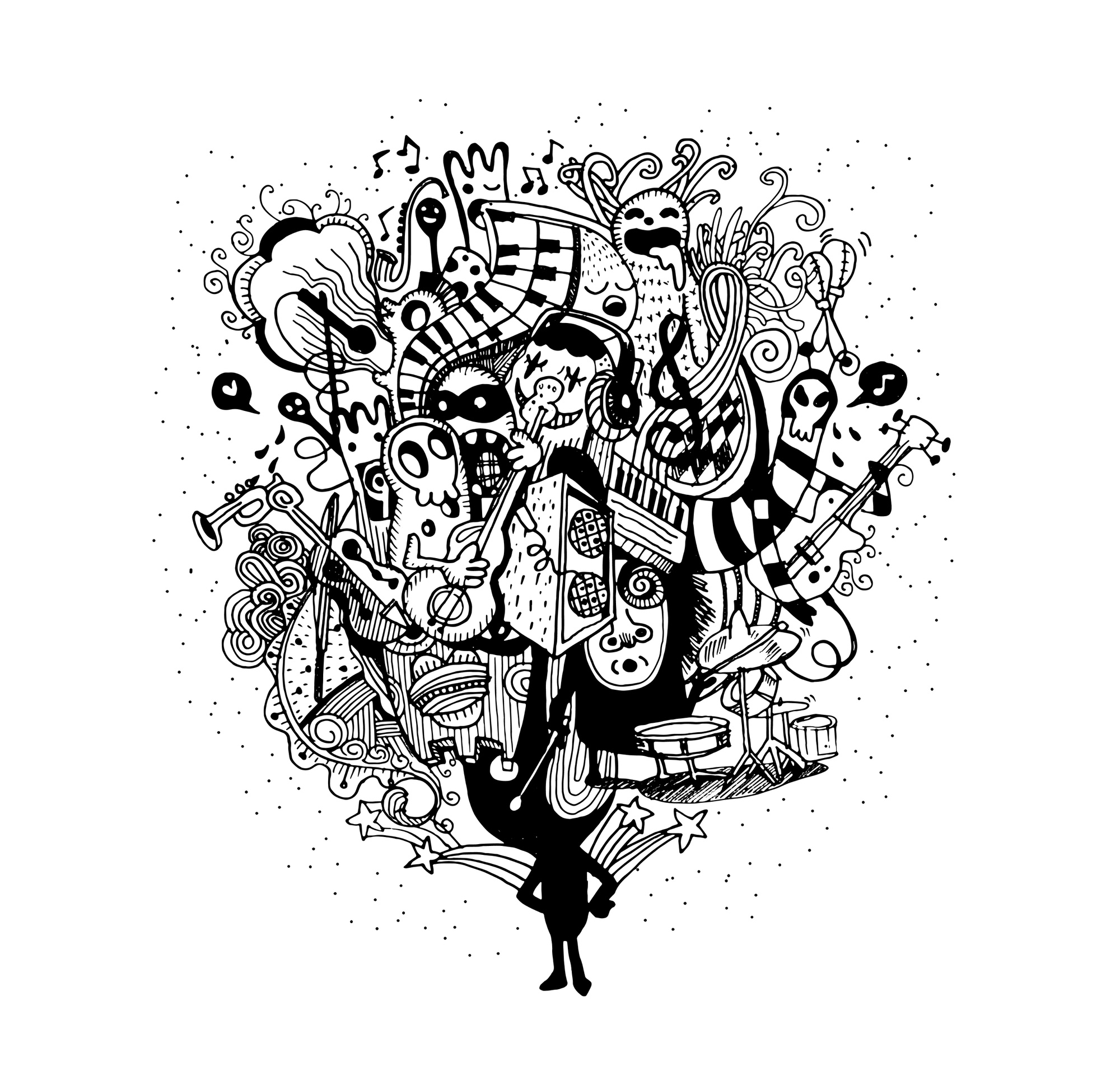 Monster band playing music hand drawn style