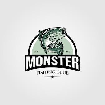 Monster bass логотип вектор шаблон иллюстрации дизайн