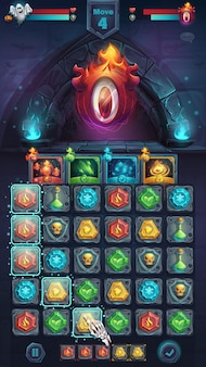 Monster battle gui playing field match 3 - cartoon stylized vector illustration mobile format window with options buttons, game items