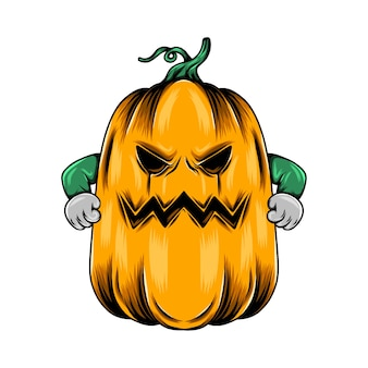 Monster big yellow pumpkin with the angry face and two clench hand