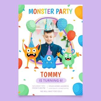 写真付きモンスターの誕生日の招待状のテンプレート