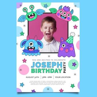 Шаблон приглашения на день рождения монстра с фото