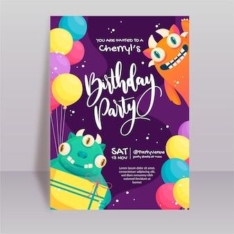 Шаблон приглашения на день рождения монстра