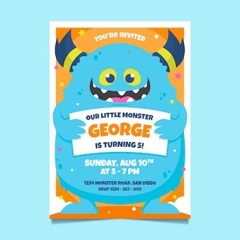 Monster birthday invitation template