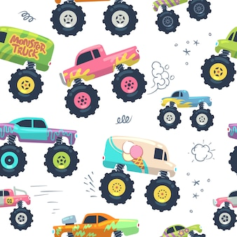 Monster cars seamless pattern. kid trucks with big wheel.