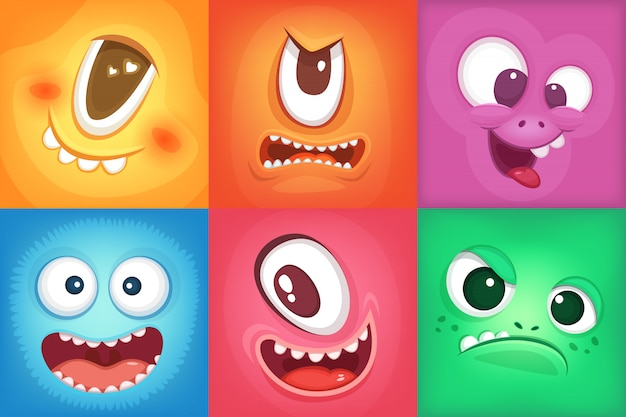 Monster cartoon faces. demon smiles and big crazy mouth. vector monster funny, illustration of color
