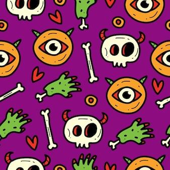 Monster cartoon seamless pattern