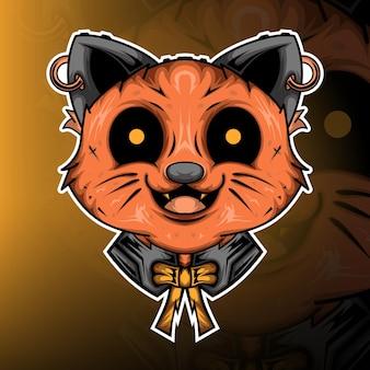 Monster cat gaming mascot logo vector