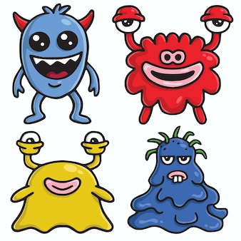 Monster character design vector cartoon set