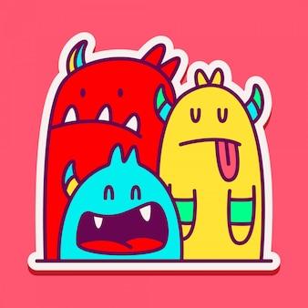 Monster character doodle sticker  illustration