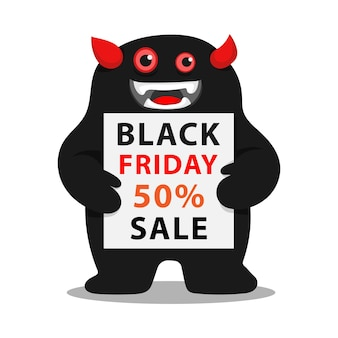 Monster character holding a board of black friday sale vector illustration