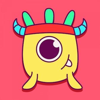 Monster character kawaii doodle design