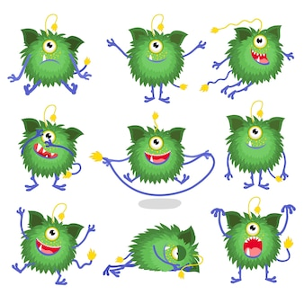 Monster character. set of cute cartoon character in different poses.