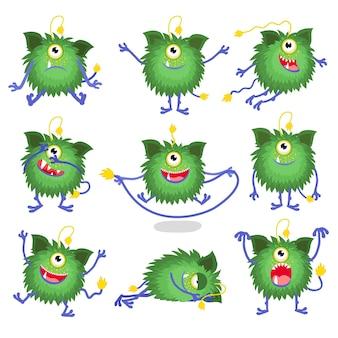 Carattere del mostro. set di simpatico personaggio dei cartoni animati in diverse pose.