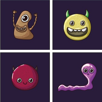 Monster character vector template set