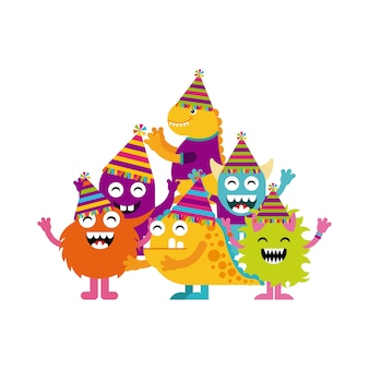 Monster characters in birthday party