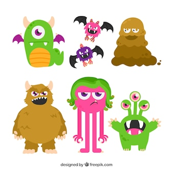 Monster characters of various types