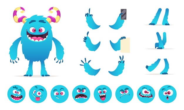 Monster constructor. eyes mouth emotions parts of cute funny creatures for games creation kit for kids hallowen party