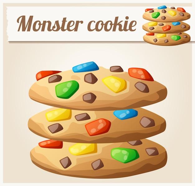 モンスタークッキー詳細ベクトルアイコン