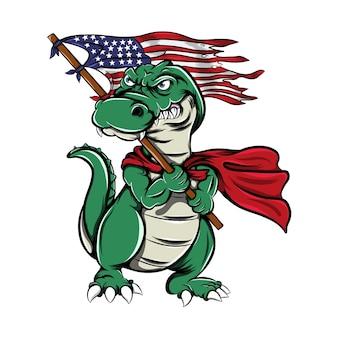 怖い顔でアメリカの国旗を持っているモンスターワニ