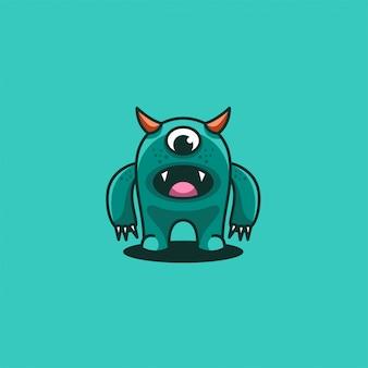 Monster cute cartoon illustration   logo.