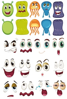 Monster and different face set
