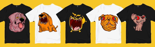 Monster dog t-shirt design bundle, funny and scary cartoon collection