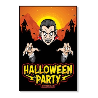 Monster dracula halloween vector poster