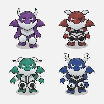 Monster dragon devil game items design illustration