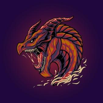 The monster dragon head illustration